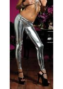 Shiny Stretch Lame Tights-silver Onesize
