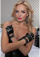 Lame Biker Gloves W/studs - Black - Os