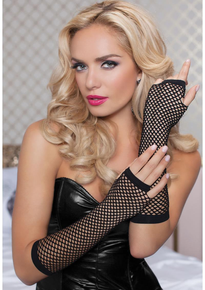 Elbow Fishnet Gloves - Black - Os