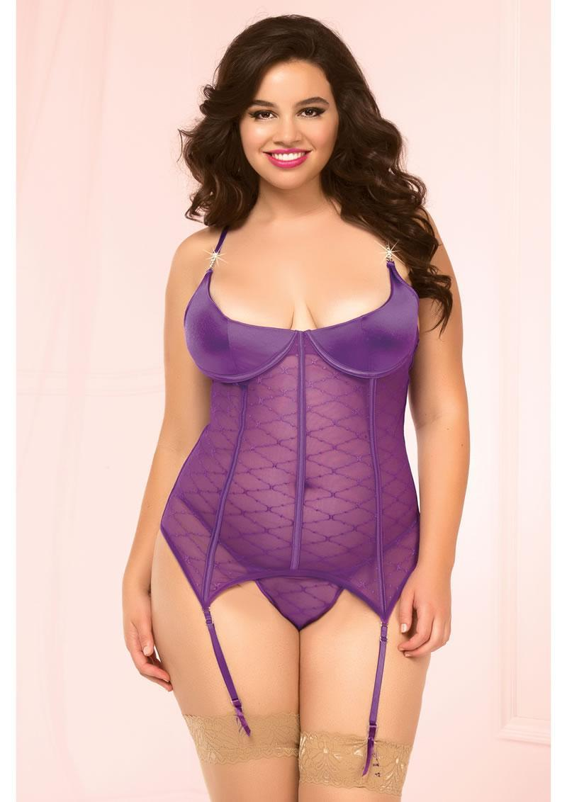 Pretty In Purple Bustier And Thong-(disc)