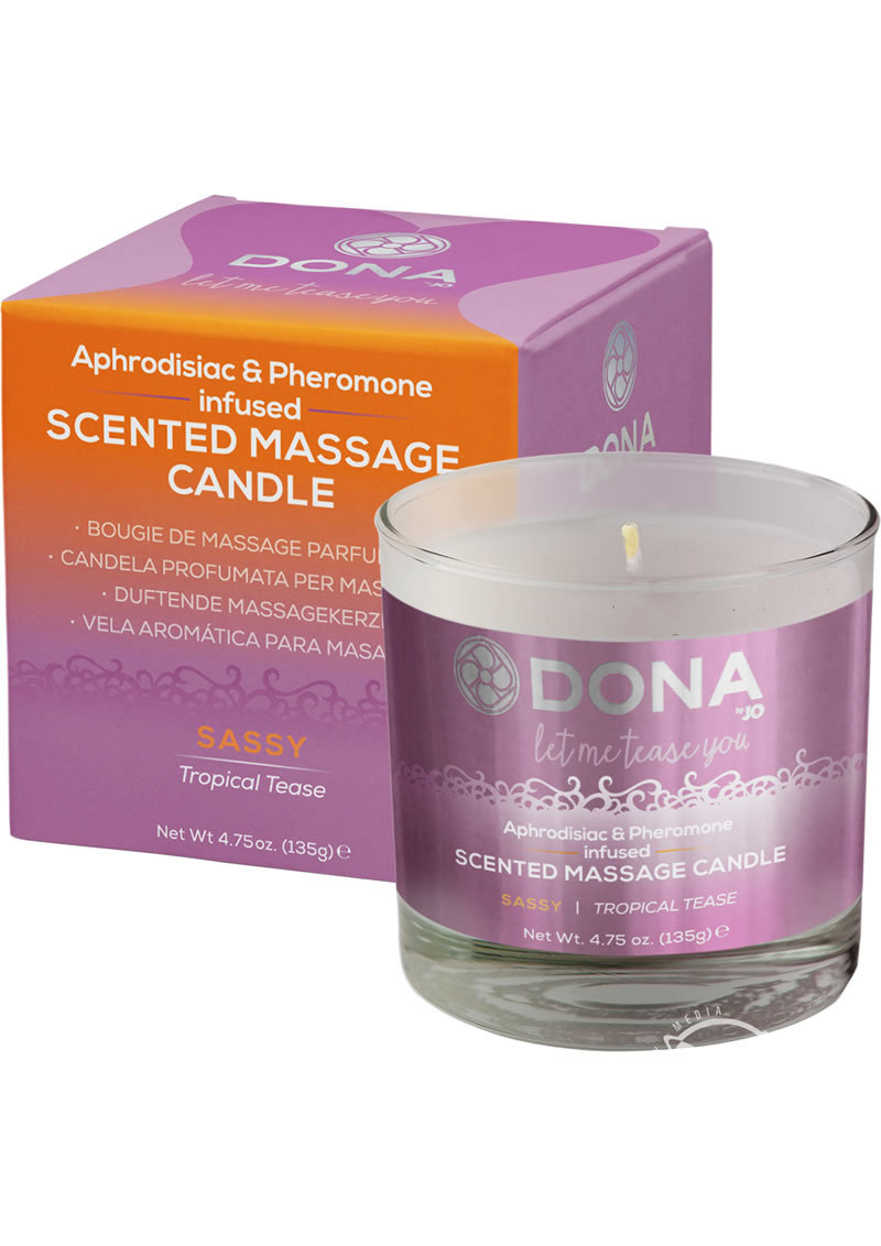 Dona Aphrodisiac And Pheromone Infused Scented Massage Candle Sassy Tropical Tease 4.75 Ounce